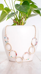 Cotton Candy Mosaic Necklace - Worn Gold