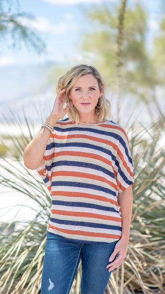 Muted Rust Twist Back Boat Neck Top
