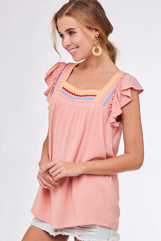 Perfectly Pink Ric Rac Trim Flutter Top