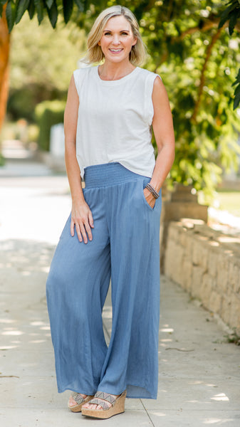 Could've Fooled Me Chambray Palazzo Pants
