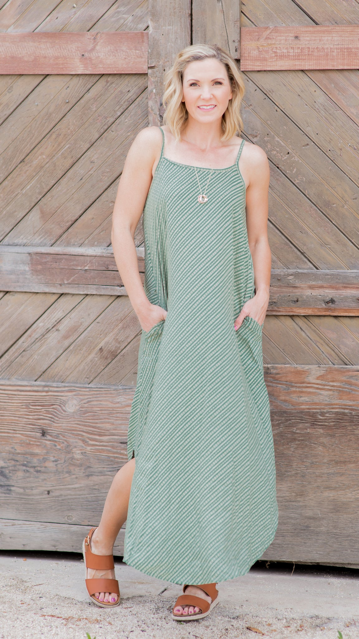 In Between The Lines Sage Round Hem Maxi Dress