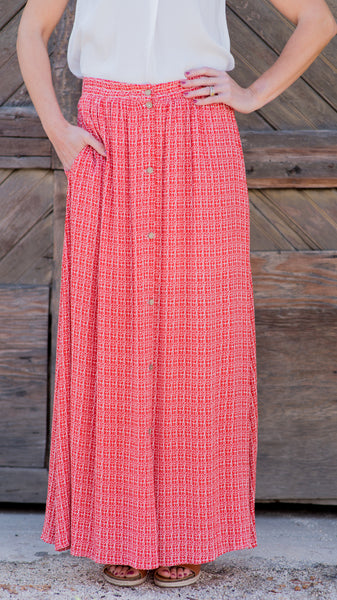 Bella Button Front Maxi Skirt-Red