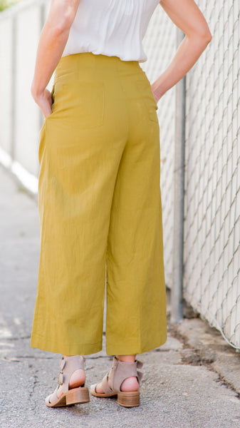 Daffodil Button Down Wide Legs Culotte Pants