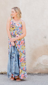 June Lush Floral Knit Maxi Dress