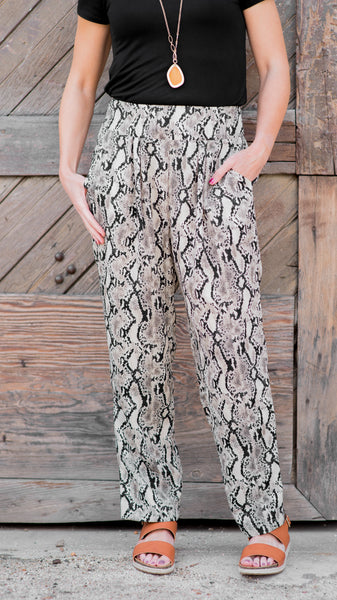 Snake Print Pocketed Taper Pants