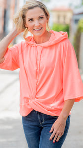 Neon Coral Solid Twist Front Hooded Sweatshirt