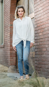 Every Day White Blouse with Knotted Front