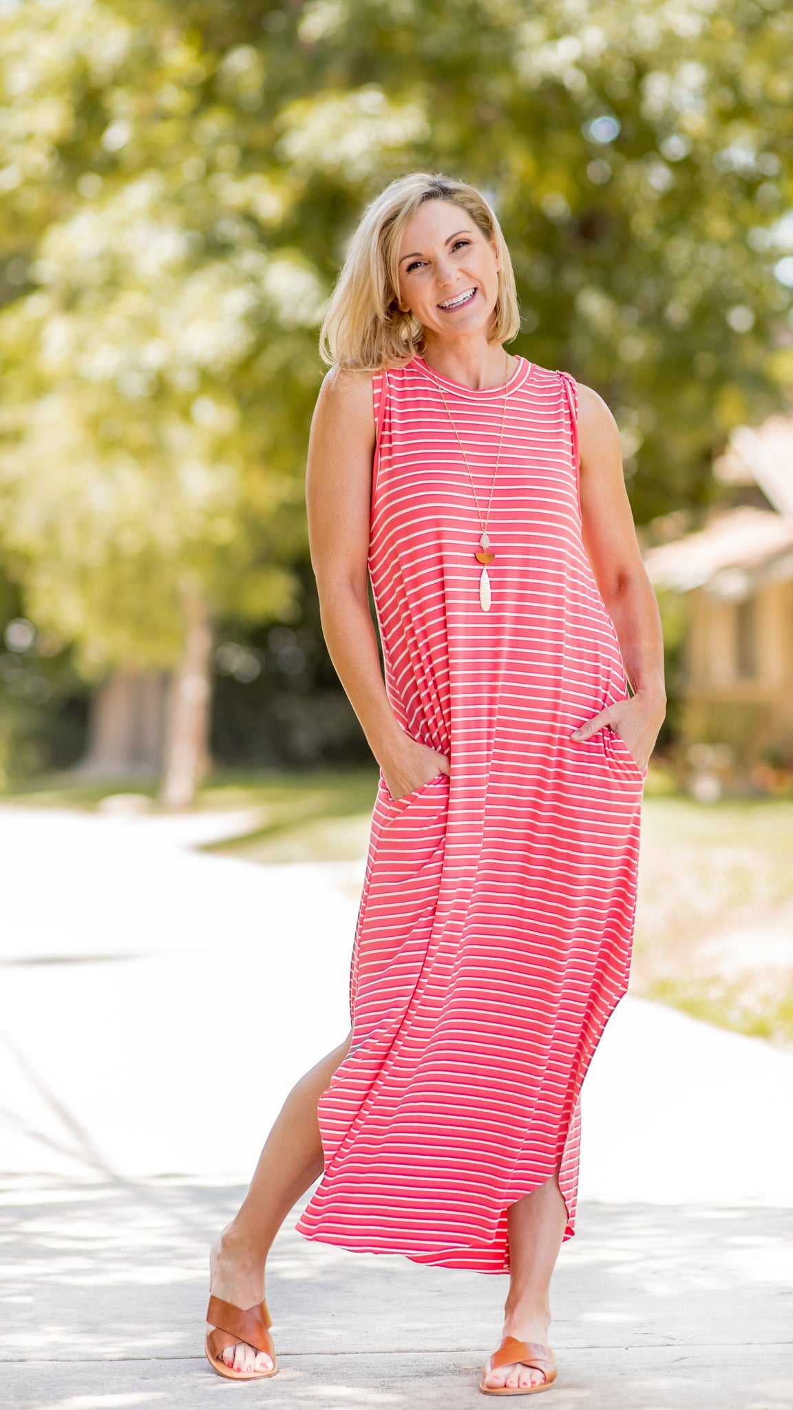 Round Hem Striped Maxi Dress- 2 Colors!