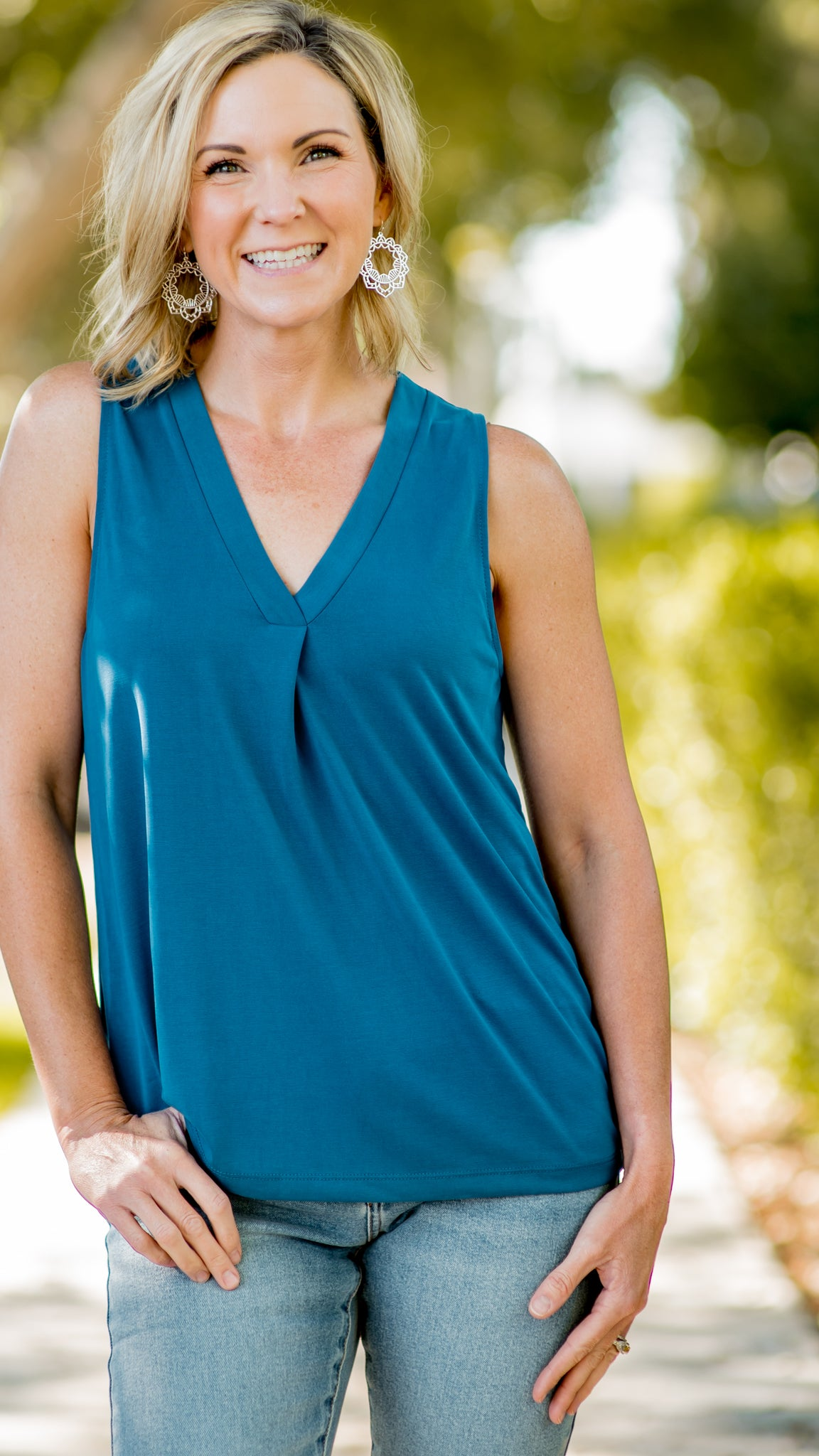 RESTOCKED!! Pleat Front V-Neck Sleeveless Top-4 Colors!