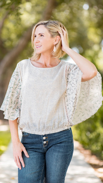 The Daisy Flutter Sleeve Banded Top- 2 Colors!