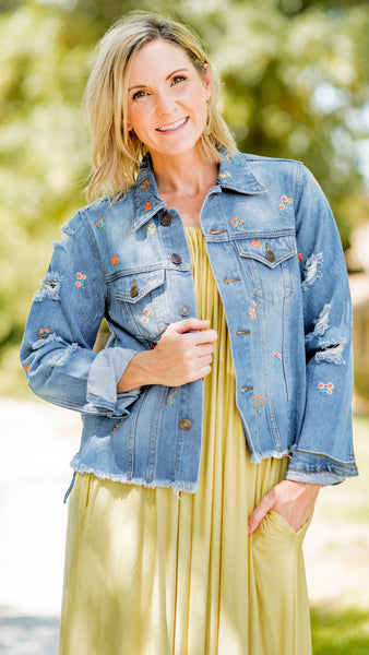 Fallin' for Floral Embroidery Denim Jacket