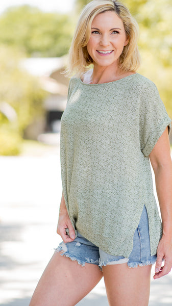 RESTOCKED!!! Gracious Green Cuffed Sleeve Top