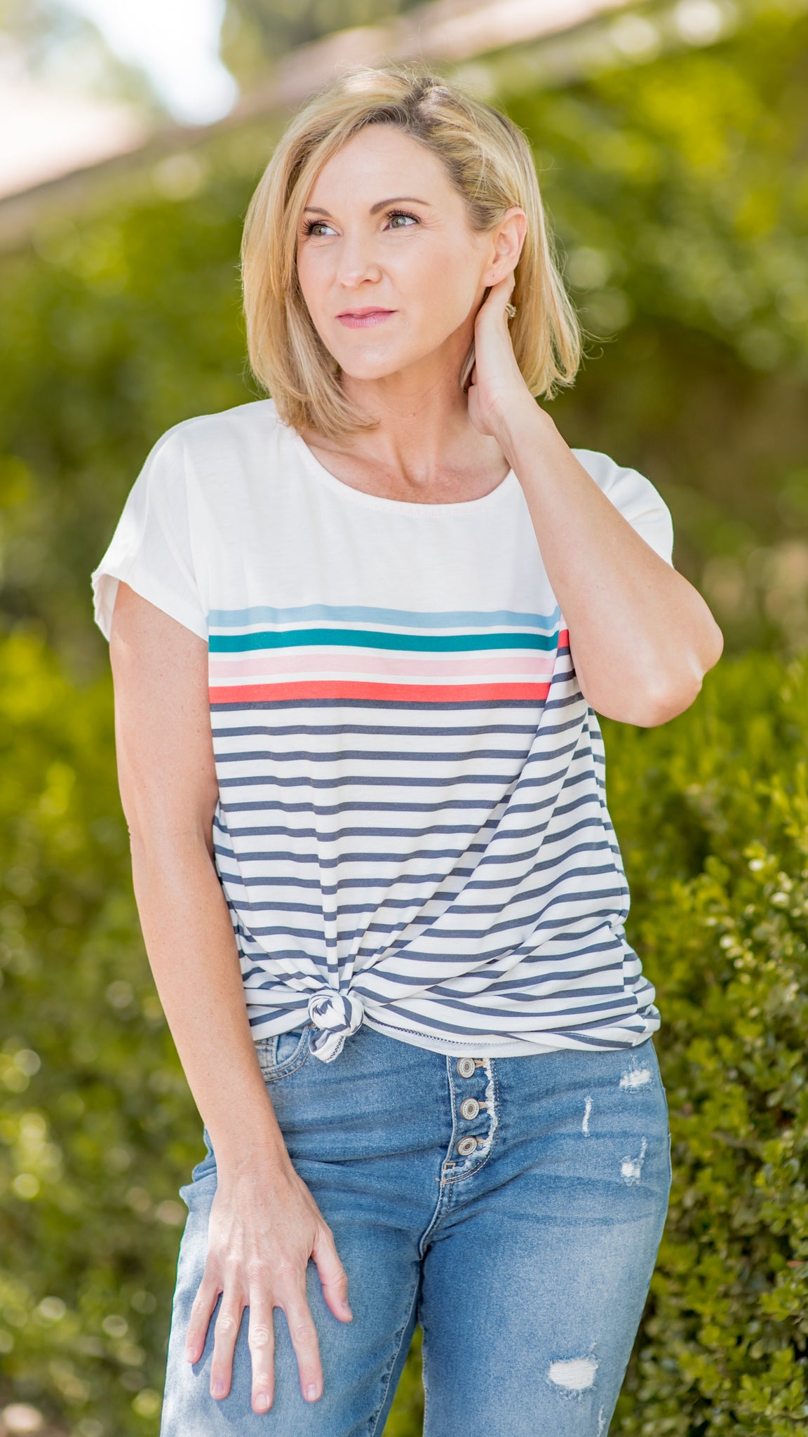 Stripes So Happy Dolman Knit Tee