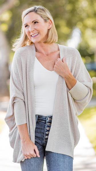One Day at a Time Oatmeal Dolman Cardigan