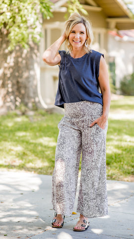 The Crop Gray Leopard Smocked Palazzo Pant
