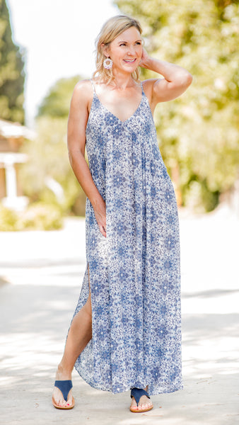 Kelly's Kaleidoscope Blue Boho Maxi Dress