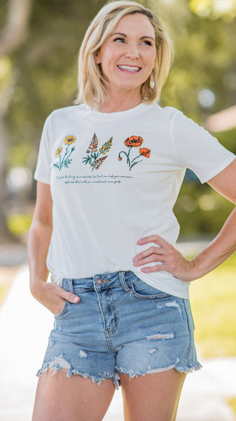 Positive Thinking Flower Graphic Tee