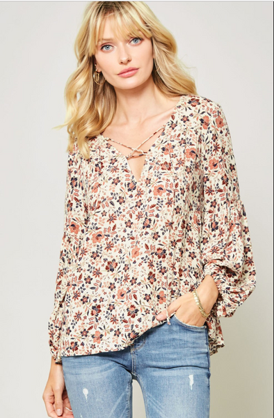 The Eleanor Ditsy Floral Peasant Blouse
