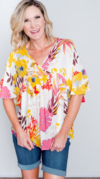 Botanic Garden Printed Top in Yellow
