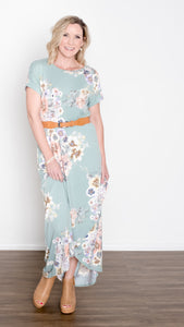 Dolman Sleeve Floral Maxi Dress - Mint