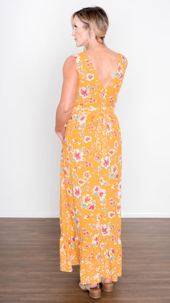 Morning Glory Ruffle Tank Maxi Dress