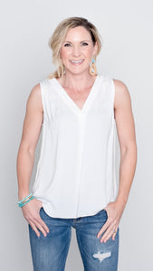 Pleated Front V Neck Tank- 2 Colors!