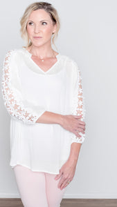 Fresh Petals Lace Sleeve Top