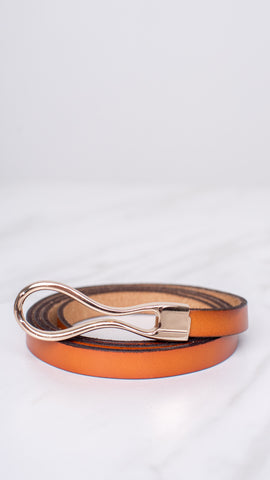 Knotted Golden Chestnut Loop Belt