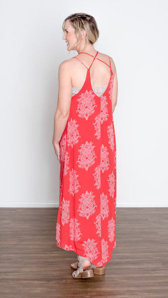 Mandarin Sky Criss Cross Maxi Dress