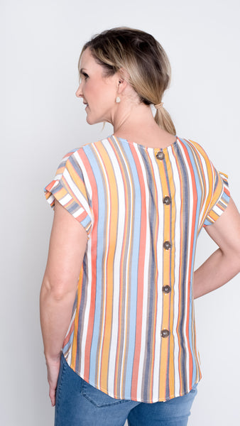 Back Button Striped Top- 2 Colors!