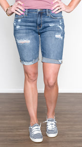 Judy Blue Distressed Denim Bermuda Shorts