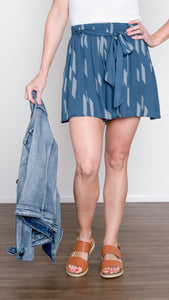 Blue Skies Paperbag Shorts in Slate Blue