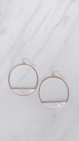 Hoop Earrings with Marble Detail in Gold