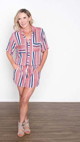 Good Vibes Bright Striped Romper