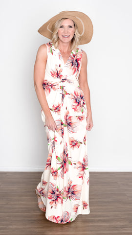 Sleeveless Twist Front Floral Maxi Dress - Ivory