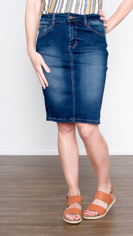 Walk in the Park Stretch Denim Pencil Skirt