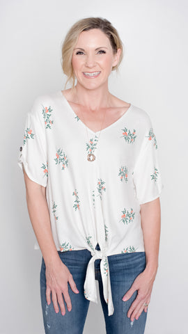 Tiny Blooms Tie Front Top in Ivory