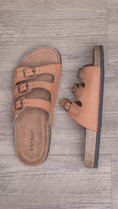 Triple Play Slip On Sandal- Tan