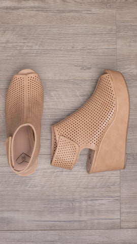 The Kendra Perforated Velcro Wedge Sandal