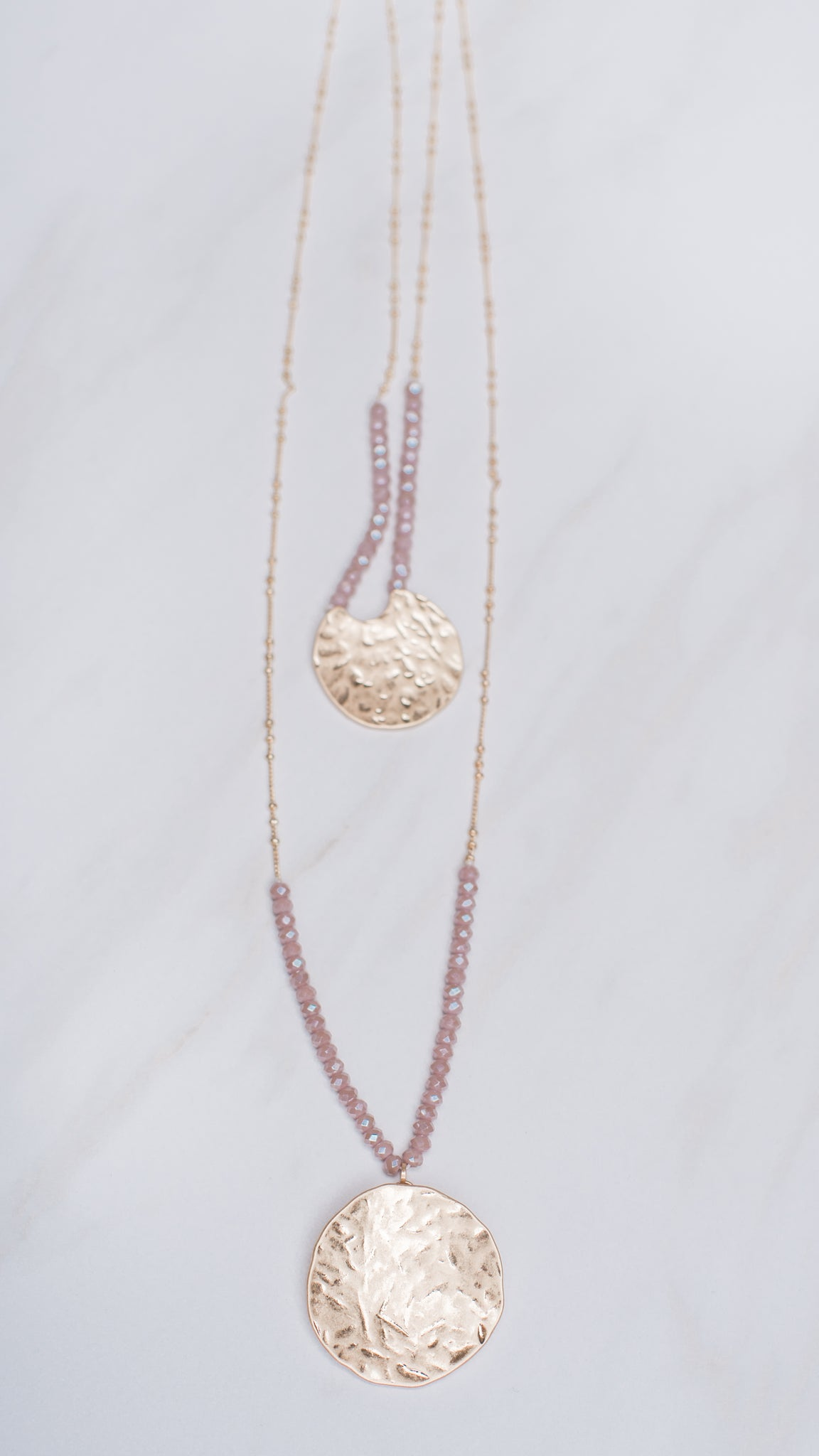 Hammered Metal Necklace with Blush Beading