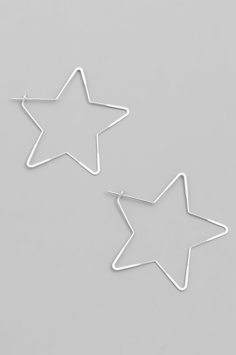 Silver Star Wire Earrings