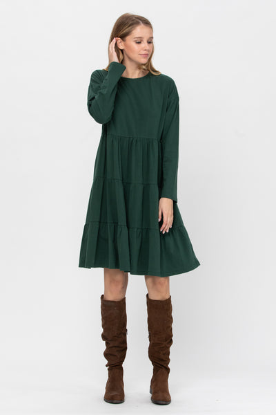 Essential Babe Tiered Knit Long Sleeve Dress- 2 Colors!