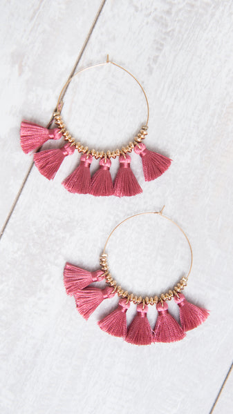 Pink Hoop Tassel Fan Earrings