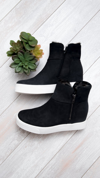 Fur Lined Side Zip Sneaker in Black