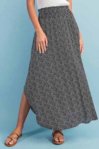 RESTOCKED!!! The Paula Black Polka Dot Smocked Maxi Skirt