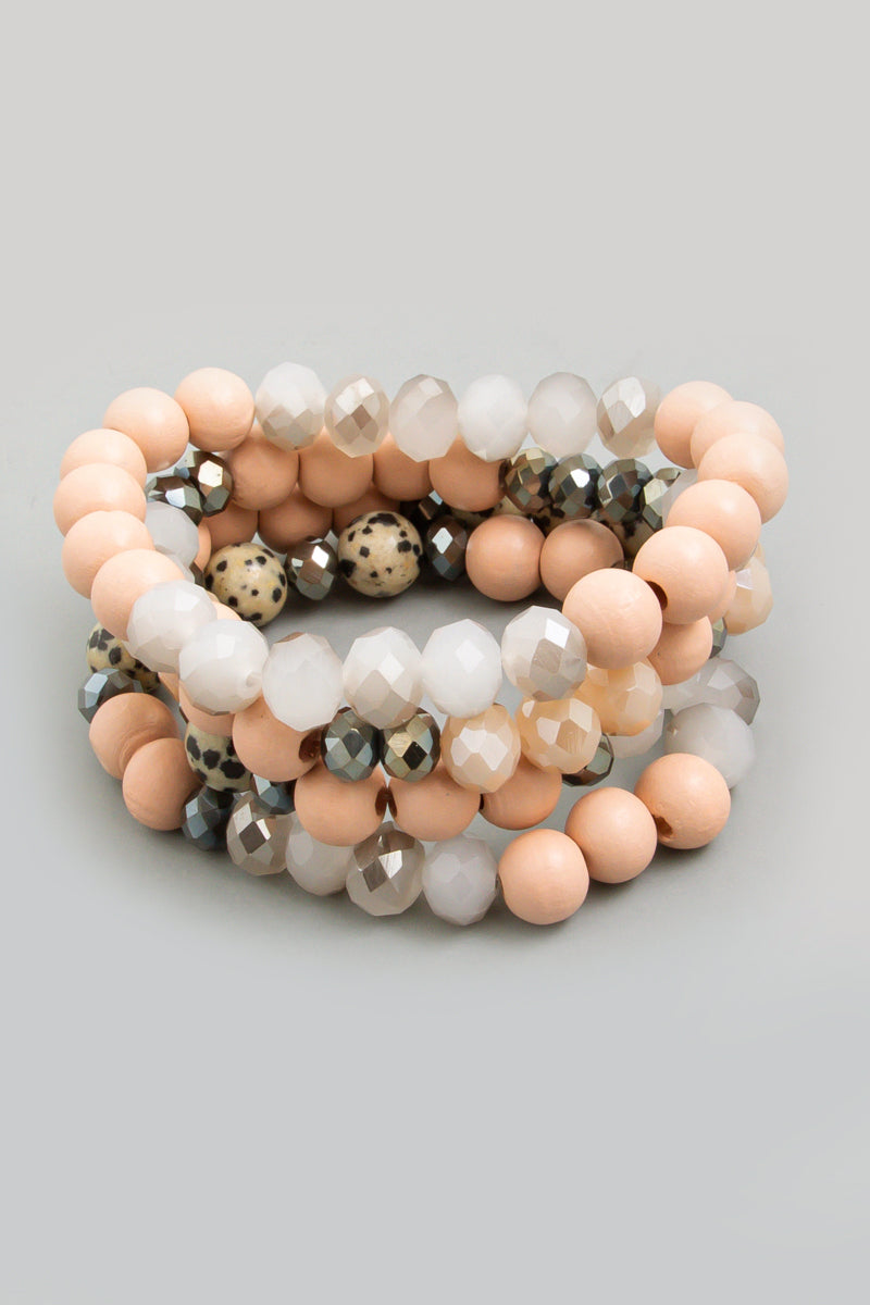 Faded Peach Stone Beaded Stretch Bracelet Set
