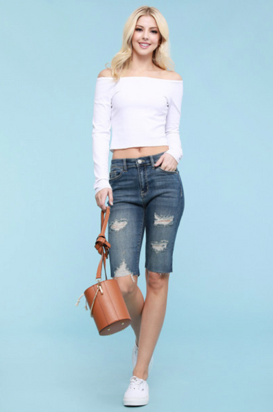 The Essential Denim Cut Off Bermuda Shorts