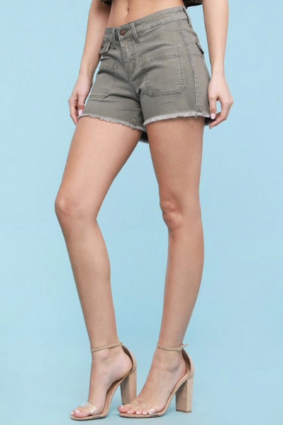 Patch Pocket Shorts in Olive