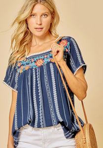 Picnic Perfect Square Neck Embroidered Blouse