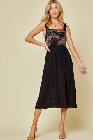 RESTOCKED!! Mostly Dreaming Black Embroidered Smocked Midi Dress